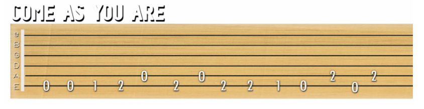 how to play come as you are on guitar tabs